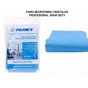paño microfibra cristales 38x40 PACK-3 unid.